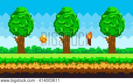 Pixel-game Background With Coins Flying In Sky. Pixel Art Game Scene With Green Grass And Tall Trees