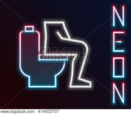 Glowing Neon Line Men Sitting On The Toilet And Constipation Are Experiencing Severe Abdominal Pain