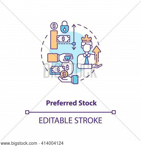 Preferred Stock Concept Icon. Stock Type Idea Thin Line Illustration. Company Assets. Equity Securit