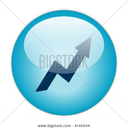 The Glassy Aqua Blue Profit Icon Button