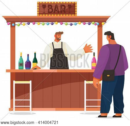 Barman Communicates With Guest. Bartender Tells Male Client About Cocktails In Street Bar