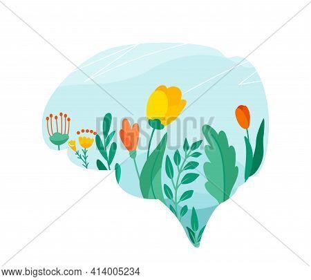 Mental Health Vector Illustration. Positive Mind Design Concept. Flowers, Leaves, Floral Elements On