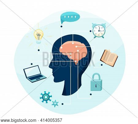 Mental Health, Brain Research Vector Illustration. Person Silhouette With Cerebrum And Connections O