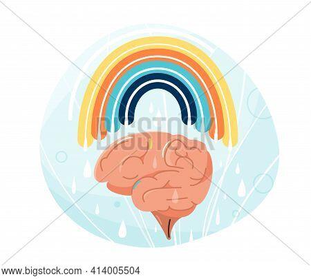 Mental Health Vector Illustration. Human Brain With Rainbow Over It. Balance Positive Vibes Mind Des