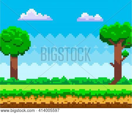 Pixel-game Background. Pixel Art Game Scene With Green Grass And Tall Trees Against Blue Sky