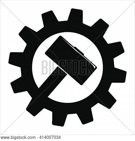 Simple Icon Of Hammer On Gear For Web. Flat Style