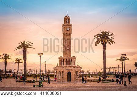 Izmir, Turkey - March 23 2021: Izmir Clock Tower In Konak Square. Famous Place.