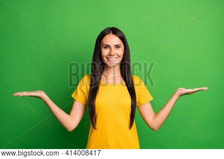 Photo Of Young Girl Happy Positive Smile Show Two Hands Ad Promo Product Pros Cons Choice Choose Iso