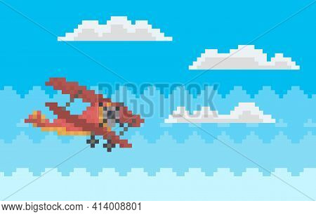 Red Combat Aircraft While Flying Among Clouds. Lonely Pixel Helicopter For Old Game Design