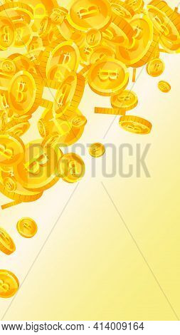 Bitcoin, Internet Currency Coins Falling. Optimal Scattered Btc Coins. Cryptocurrency, Digital Money