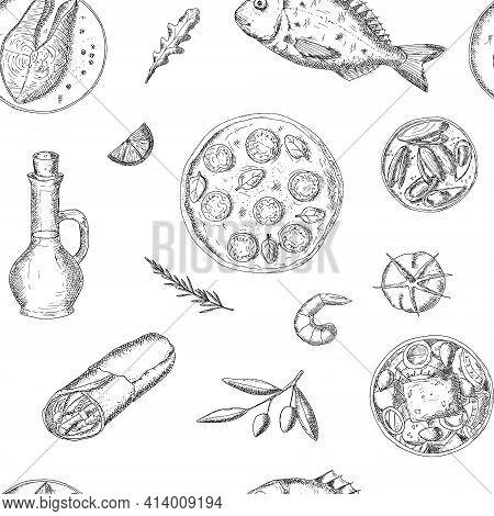 Seamless Pattern Of Mediterranean Food. Vector Background.