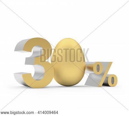 Thirty Percent Discount With Golden Easter Egg Isolated On White. 3d Illustration