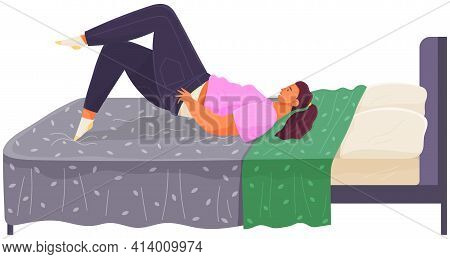 Thick Girl Puts On Skinny Jeans Lies On Bed, Young Fat Woman Relaxing In Mattress In Bedroom