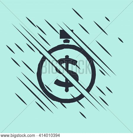 Black Time Is Money Icon Isolated On Green Background. Money Is Time. Effective Time Management. Con