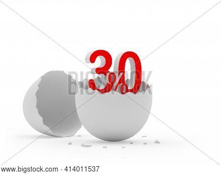 Thirty Percent Sign In A Broken Eggshell. 3d Illustration