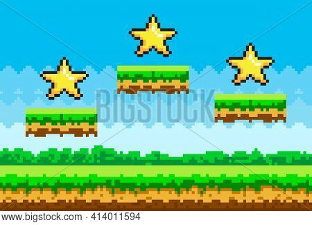Pixel Art Style Vector Stars For Retro Pixel-game. Shiner Golden Object Pixelated Awards For Player