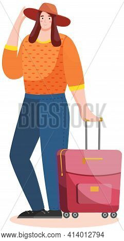 Woman Tourist With Rolling Suitcases. Person With Suitcase Engaged In Tourism Goes On Tour