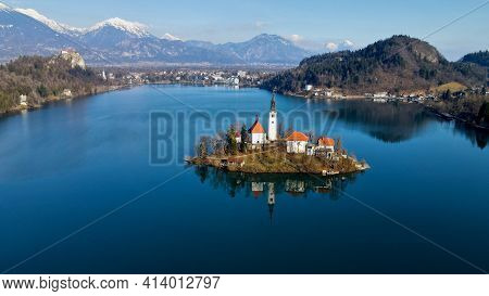Lake Bled With Winter Alps And Church View
