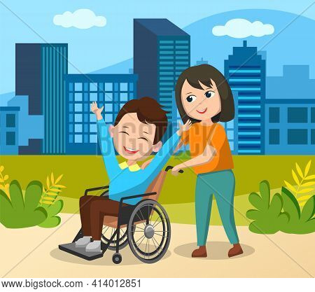 Teen Couple Walking And Talking Outdoor In Park. Girl Pushes Wheelchair. Disabled Man On Walk