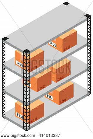Shelving With Gifts In Delivery Service. Warehouse For Storing Parcels For Shipment From China
