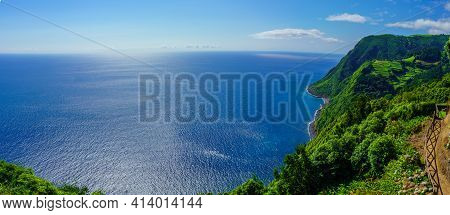 Viewpoint Ponta Do Sossego, Sao Miguel Island, Azores, Portugal. View Of Flowers On A Mountain And T