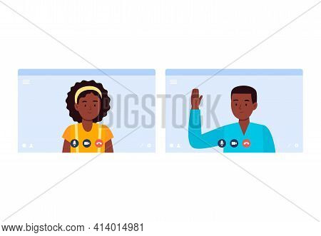 An African-american Boy And A Girl Talk On A Video Call. Virtual Communication With Friends, Classma