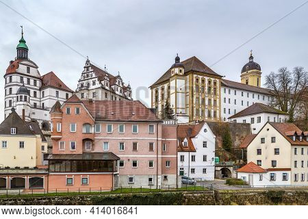 View Of Castle In Neuburg An Der Donau From River, Germany