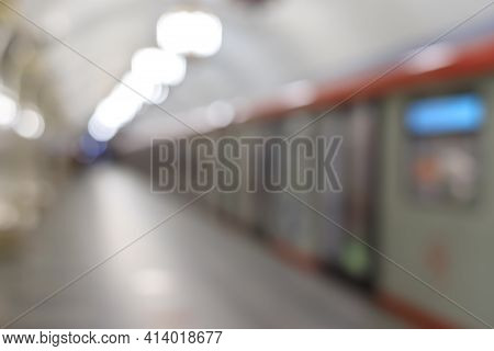 Blurred Subway Train Image. City Life, Subway Or Sky Train In The Station