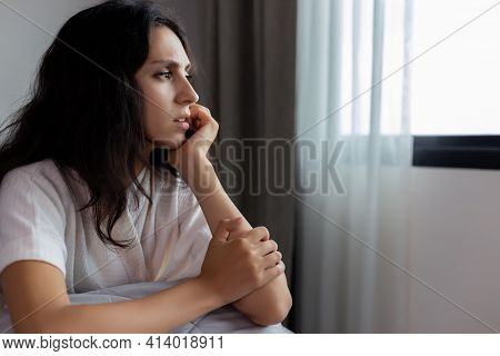Stress Women Get Insomnia, Depression Disorder Young Adult Can Not Sleep All Night Because She Get S