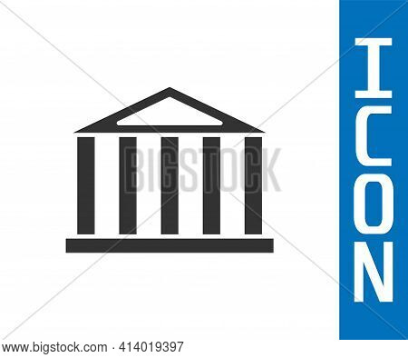 Grey Parthenon From Athens, Acropolis, Greece Icon Isolated On White Background. Greek Ancient Natio