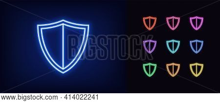 Neon Shield Icon. Glowing Neon Shield Sign, Outline Guard Symbol In Vivid Colors. Online Security An
