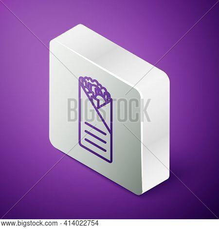 Isometric Line Doner Kebab Icon Isolated On Purple Background. Shawarma Sign. Street Fast Food Menu.