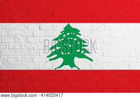 Flag Of Lebanon. Brick Wall Texture Of The Flag Of Lebanon.