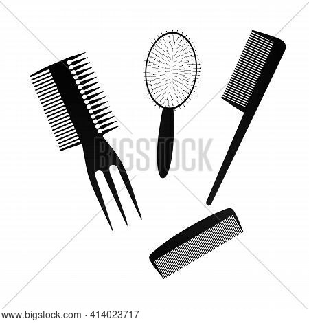 A Black Hair Comb On A White Background. Vector Illustration. A Set Of Insulated Combs For The Haird