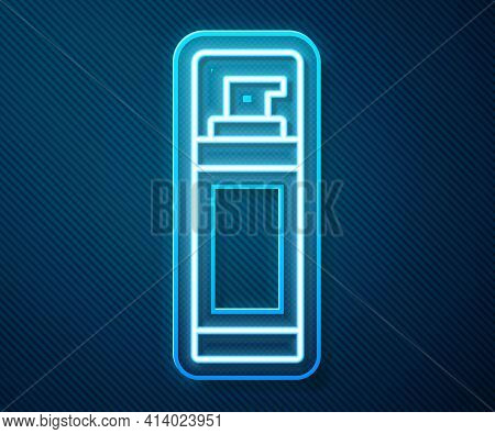 Glowing Neon Line Shaving Gel Foam Icon Isolated On Blue Background. Shaving Cream. Vector