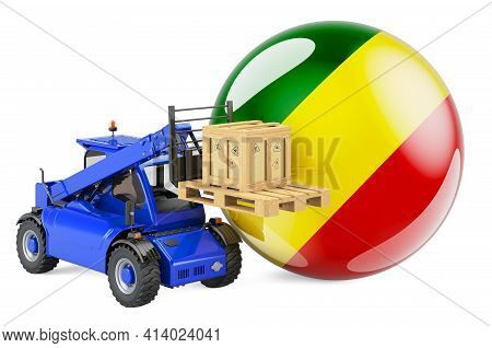 Congo Flag With Telescopic Handler Truck And Parcel. Cargo Shipping In Congo Concept, 3d Rendering I