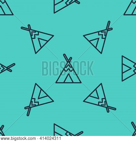 Black Line Traditional Indian Teepee Or Wigwam Icon Isolated Seamless Pattern On Green Background. I