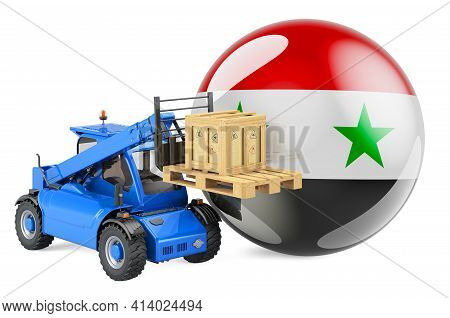 Syrian Flag With Telescopic Handler Truck And Parcel. Cargo Shipping In Syrian Concept, 3d Rendering