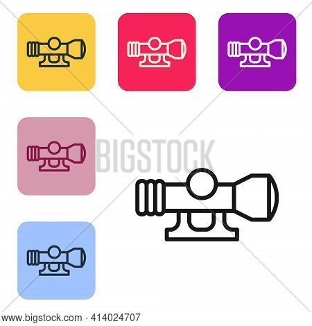 Black Line Sniper Optical Sight Icon Isolated On White Background. Sniper Scope Crosshairs. Set Icon