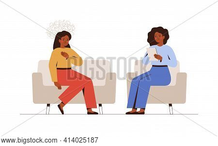 Sad Woman Talks During A Mental Therapy Session With Her Psychotherapist Or Psychologist. Female Psy