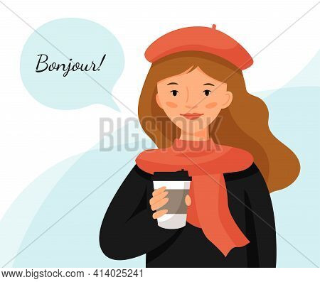Cute Girl In A Red Beret With Cup Of Coffee. Parisian Style Woman. Girl With Cloud For Text. Transla