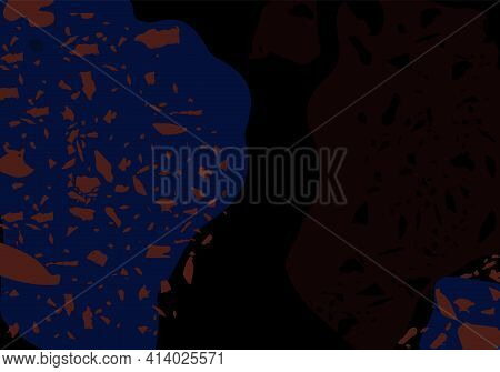 Terrazzo Modern Abstract Template. Black And Blue