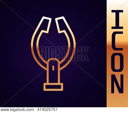 Gold Line Meat Tongs Icon Isolated On Black Background. Bbq Tongs Sign. Barbecue And Grill Tool. Vec