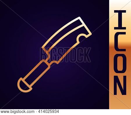 Gold Line Meat Chopper Icon Isolated On Black Background. Butcher Knife. Kitchen Knife For Meat. But