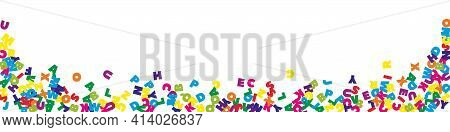 Falling Letters Of English Language. Colorful Flying Words Of Latin Alphabet. Foreign Languages Stud