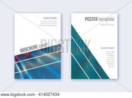 Geometric Cover Design Template Set. Red White Blu