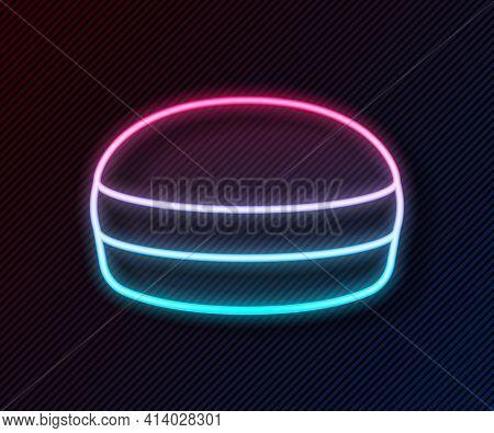 Glowing Neon Line Macaron Cookie Icon Isolated On Black Background. Macaroon Sweet Bakery. Vector