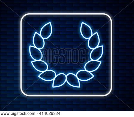 Glowing Neon Line Laurel Wreath Icon Isolated On Brick Wall Background. Triumph Symbol. Vector