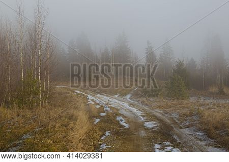 Early Spring In The Carpathians. Mountain Slopes With Trees In The Fog. Dirt Road In The Snow. Beaut