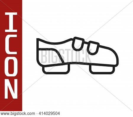 Black Line Triathlon Cycling Shoes Icon Isolated On White Background. Sport Shoes, Bicycle Shoes. Ve
